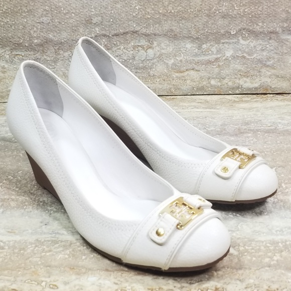 62bb25da63eae Tory Burch Natalya Leather Mid Wedge Heels Size 11.  M 5b8c726b3c9844faa357ce30